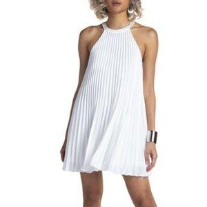 Guess White Chiffon Pleated Halter Neck Mini Dress